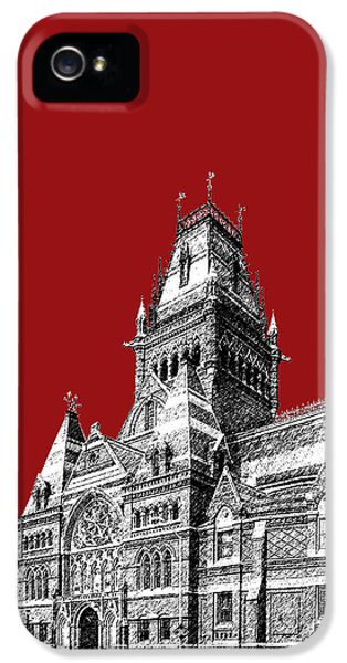 Harvard iPhone 5s Case - Harvard University - Memorial Hall - Dark Red by DB Artist