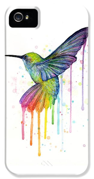 Animals iPhone 5s Case - Hummingbird Of Watercolor Rainbow by Olga Shvartsur