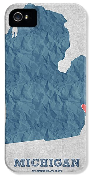 I Love Detroit Michigan - Blue IPhone 5s Case by Aged Pixel