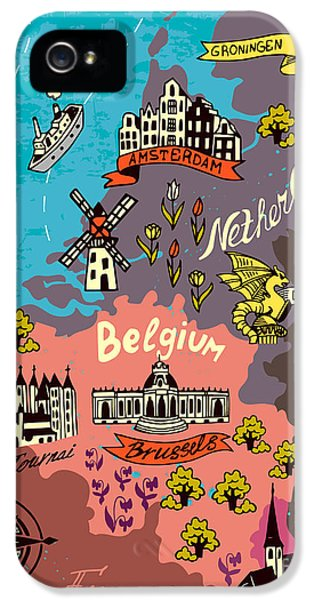 Castle iPhone 5s Case - Illustrated Map Of The Netherlands by Daria i