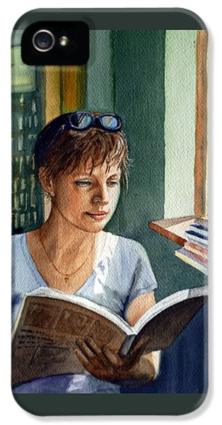 IPhone 5s Case featuring the painting In The Book Store by Irina Sztukowski