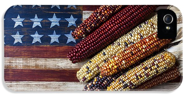 Indian Corn On American Flag IPhone 5s Case by Garry Gay