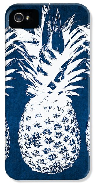 Indigo And White Pineapples IPhone 5s Case by Linda Woods