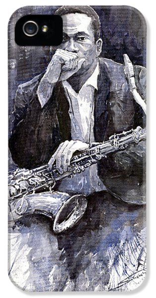 Jazz iPhone 5s Case - Jazz Saxophonist John Coltrane Black by Yuriy Shevchuk