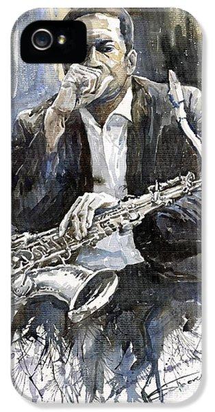 Jazz Saxophonist John Coltrane Yellow IPhone 5s Case by Yuriy  Shevchuk