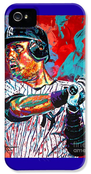 New York Yankees iPhone 5s Case - Jeter At Bat by Maria Arango