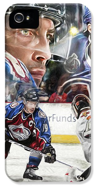 IPhone 5s Case featuring the painting Joe Sakic Collage by Mike Oulton e28693135