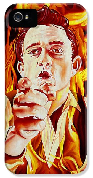 Johnny Cash And It Burns IPhone 5s Case by Joshua Morton