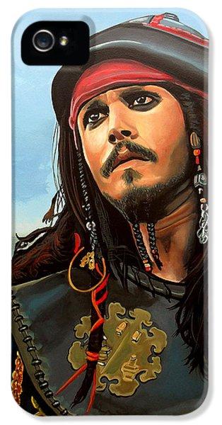 Johnny Depp iPhone 5s Case - Johnny Depp As Jack Sparrow by Paul Meijering