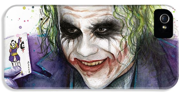 Joker Watercolor Portrait IPhone 5s Case by Olga Shvartsur