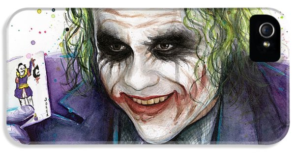 Joker Watercolor Portrait IPhone 5s Case by Olga Shvartsur