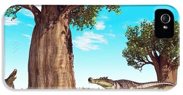 Kaprosuchus Prehistoric Crocodiles IPhone 5s Case by Walter Myers