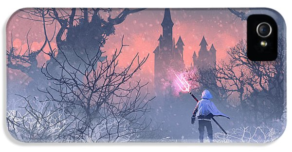 Castle iPhone 5s Case - Knight With Trident In Winter by Tithi Luadthong