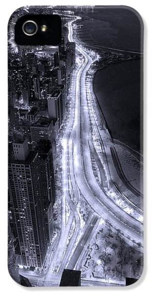 Lake Shore Drive Aerial  B And  W IPhone 5s Case by Steve Gadomski