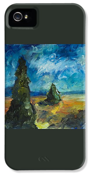IPhone 5s Case featuring the painting Emerald Spires by Yulia Kazansky