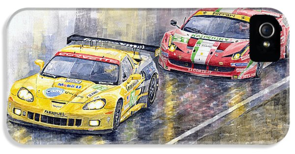 Car iPhone 5s Case - 2011 Le Mans Gte Pro Chevrolette Corvette C6r Vs Ferrari 458 Italia by Yuriy Shevchuk