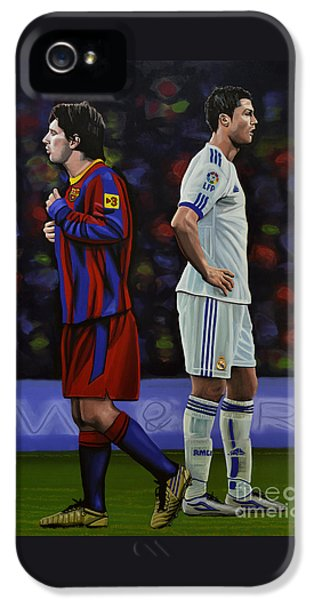 Lionel Messi And Cristiano Ronaldo IPhone 5s Case by Paul Meijering