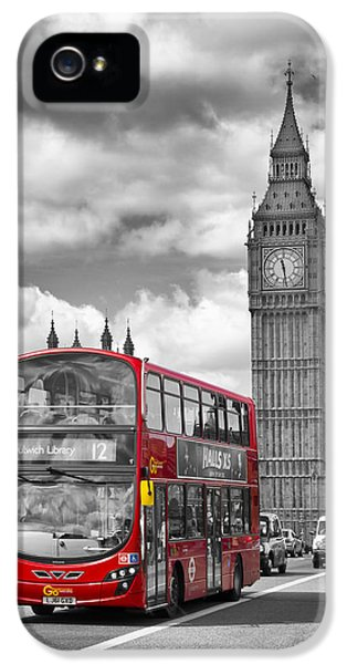 London - Houses Of Parliament And Red Bus IPhone 5s Case