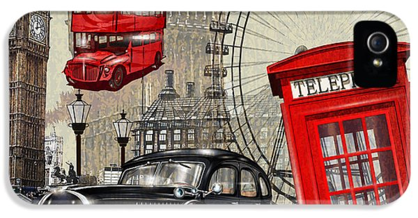 1950s iPhone 5s Case - London Vintage Poster by Axpop