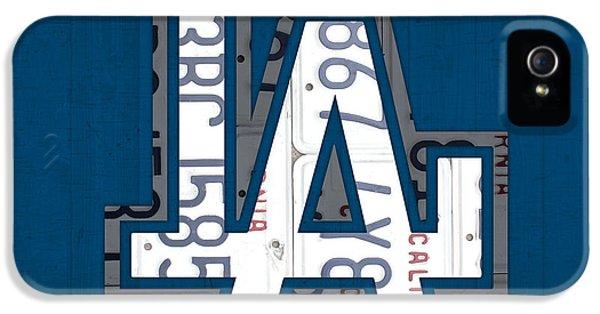 Los Angeles Dodgers iPhone 5s Case - Los Angeles Dodgers Baseball Vintage Logo License Plate Art by Design Turnpike
