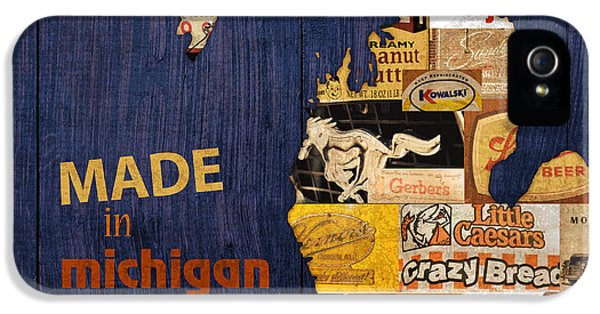 Made In Michigan Products Vintage Map On Wood IPhone 5s Case