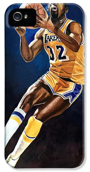 Magic Johnson - Lakers IPhone 5s Case by Michael  Pattison