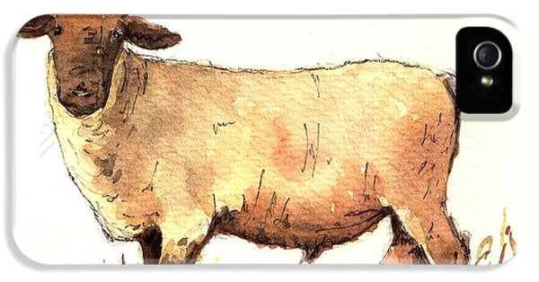 Sheep iPhone 5s Case - Male Sheep Black by Juan  Bosco