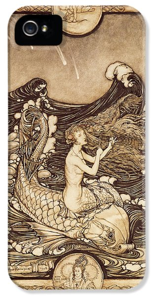 Mermaid And Dolphin From A Midsummer Nights Dream IPhone 5s Case by Arthur Rackham