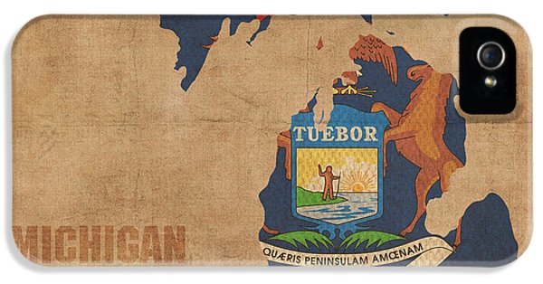 Michigan State Flag Map Outline With Founding Date On Worn Parchment Background IPhone 5s Case by Design Turnpike