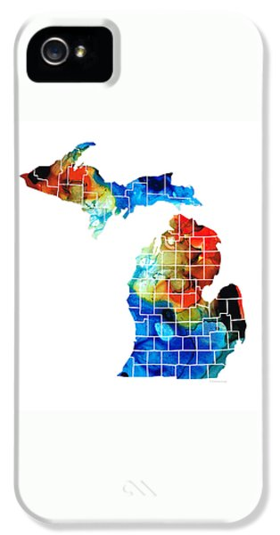 Michigan State Map - Counties By Sharon Cummings IPhone 5s Case by Sharon Cummings