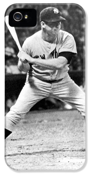 Mickey Mantle At Bat IPhone 5s Case by Underwood Archives