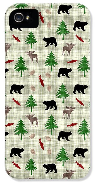 Moose And Bear Pattern IPhone 5s Case by Christina Rollo