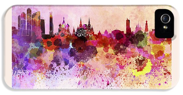 Moscow Skyline In Watercolor Background IPhone 5s Case by Pablo Romero
