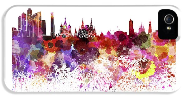 Moscow Skyline White Background IPhone 5s Case by Pablo Romero
