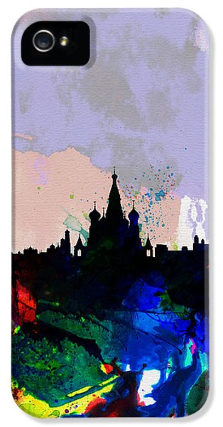 Moscow Skyline iPhone 5s Case - Moscow Watercolor Skyline by Naxart Studio