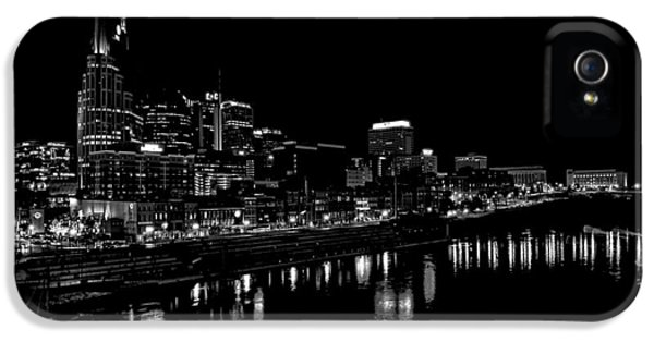 Nashville Skyline At Night In Black And White IPhone 5s Case by Dan Sproul