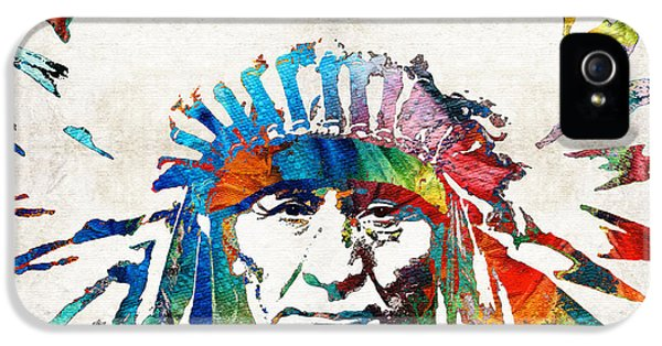 Bull iPhone 5s Case - Native American Art - Chief - By Sharon Cummings by Sharon Cummings