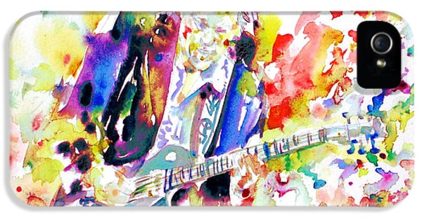 Neil Young Playing The Guitar - Watercolor Portrait.2 IPhone 5s Case by Fabrizio Cassetta