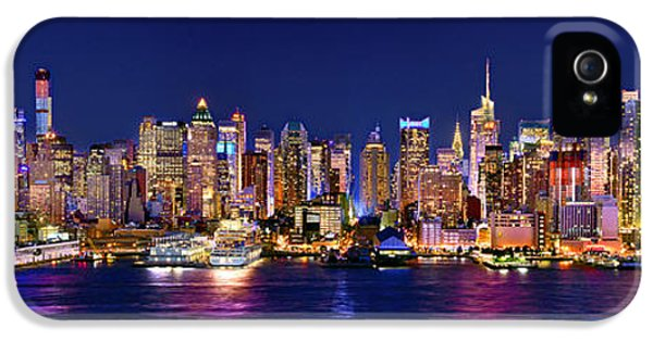 New York City Nyc Midtown Manhattan At Night IPhone 5s Case by Jon Holiday