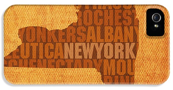 New York Word Art State Map On Canvas IPhone 5s Case