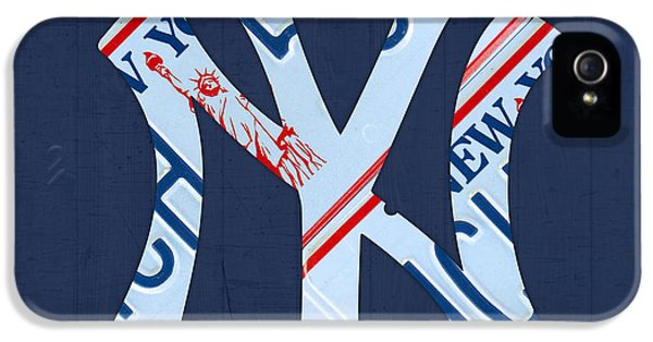 New York Yankees iPhone 5s Case - New York Yankees Baseball Team Vintage Logo Recycled Ny License Plate Art by Design Turnpike