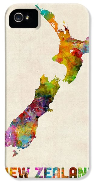 New Zealand Watercolor Map IPhone 5s Case by Michael Tompsett