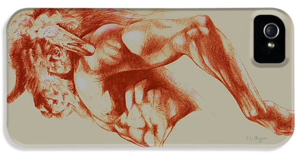 Minotaur iPhone 5s Case - North American Minotaur Red Sketch by Derrick Higgins