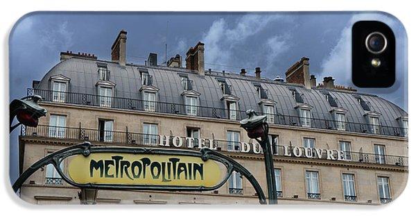 Paris Metropolitain Sign At The Paris Hotel Du Louvre Metropolitain Sign Art Noueveau Art Deco IPhone 5s Case by Kathy Fornal