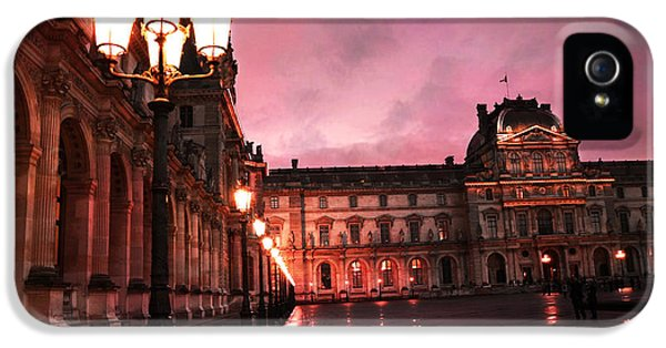 Paris Louvre Museum Night Architecture Street Lamps - Paris Louvre Museum Lanterns Night Lights IPhone 5s Case by Kathy Fornal