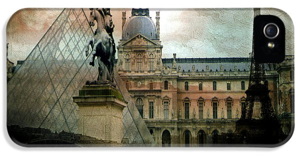 Paris Louvre Museum Pyramid Architecture - Eiffel Tower Photo Montage Of Paris Landmarks IPhone 5s Case by Kathy Fornal