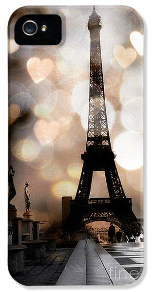 Paris Surreal Fantasy Sepia Black Eiffel Tower Bokeh Hearts And Circles - Paris Eiffel Tower Hearts  IPhone 5s Case