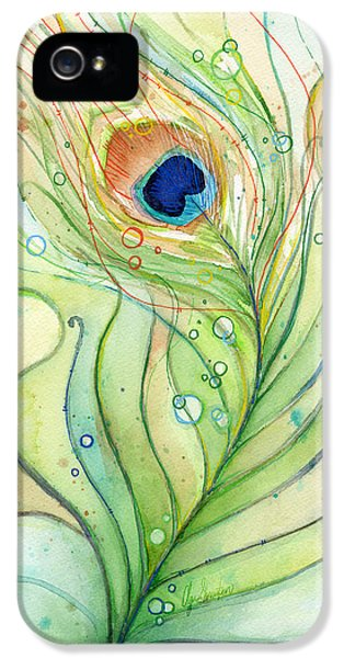 Birds iPhone 5s Case - Peacock Feather Watercolor by Olga Shvartsur