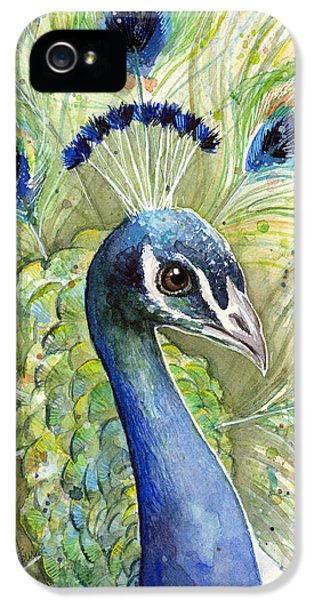 Birds iPhone 5s Case - Peacock Watercolor Portrait by Olga Shvartsur