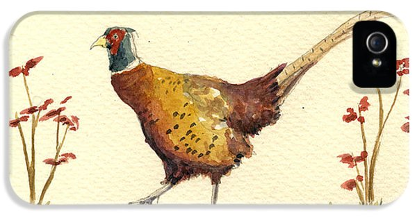 Pheasant iPhone 5s Case - Pheasant In The Flowers by Juan  Bosco